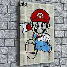 Mario In The Newspaper Painting HD Print on Canvas Home Decor Wall Art Poster