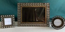 """Set of 3 Pottery Barn Jeweled Table Top Picture Frames 4X6 & 1.5"""" X 1.5"""""""