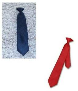 """2 Boys Clip On Tie Chaps Solid Red & Black 14"""" Long"""