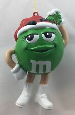 Green M&M Girl Wearing White Boots Christmas Tree Ornament Holiday