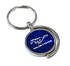1979-2017 Ford Mustang Running Horse Blue Swivel Spinner 2-Sided Keychain Ring