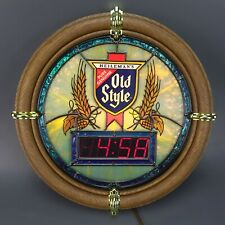 Vintage 1988 Old Style Beer Illuminated Stain Glass Digital Clock New Never Used