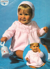 """Baby Leaf Yoke Matinee Coat Angel Top & Bonnet 14"""" - 18"""" 4 Ply Knitting Pattern"""