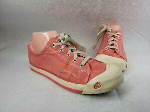 Keen Coronado Canvas Lace Up Sneaker Tennis Shoe Rubber Bump Toe Size 6 M Coral
