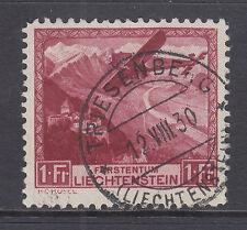 Liechtenstein Sc C6 used 1930 1fr Airplane Over Rhine Valley, Top Value to Set