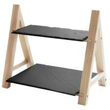 Wooden 2 Tier Food Cake Display Stand Rack with Slate Shelf