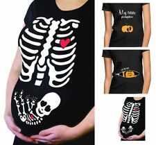 HALLOWEEN COSTUME MATERNITY PREGNANT FUNNY  SKELETON PUMPKIN BABY T SHIRT