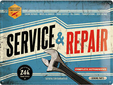 Service & Repair, Vintage Garage Mechanics Parts, Large 3D Metal Embossed Sign