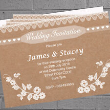 Personalised Wedding Evening Day Reception Invitations Kraft Lace x 12 H1751