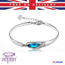 Amazing Crystal Bangle Fashionable Style with Zircon for Women Blue Stone Trendy