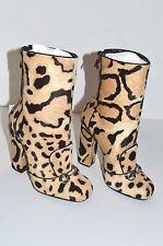 Gucci Lillian Horsebit Pony hair Leopard Mid Calf Booties Boots 366028 size 6
