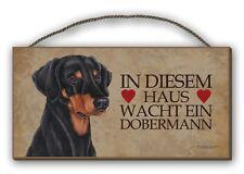 IN DIESEM HAUS WACHT EIN DOBERMANN - HOLZSCHILD MDF 25x12,5 cm 22 HUNDESCHILD