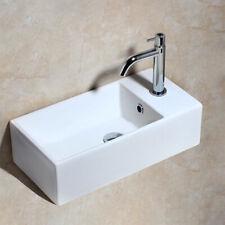 Rectangular White Bathroom Porcelain Ceramic Sink Lavatory Bowl Mixer Faucet Set
