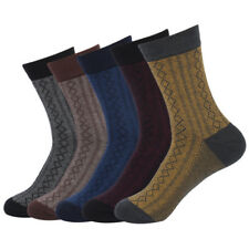 5 Pairs Mens Combed Cotton Socks Lot Classic Diamond Lattice Casual Dress Socks