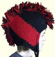 Beanie Hat Mohawk Hand Knit Winter 100% Wool Polyfleece Lined