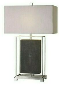 New Uttermost Sakana Table Lamp Faux Gray Shagreen Polished Nickel No Shade Gift