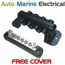 Auto & Marine Power Distribution Bus Bar 5 Way Screw with Cover - 100A