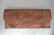 Vintage Hand Made Bronze/copper Color Beaded Satin Clutch Purse. Mandarin Shop