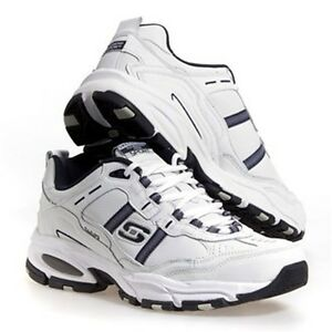 SKECHERS Men's Leather Athletic Shoes in White, Medium D and Extra Wide 3E