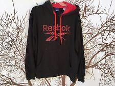 🔥Reebok Men's Sweatshirt LARGE L Warm Black GYM Training Run Hoodie Red LOGO🔥
