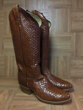 VNTG🔥 Tony Lama Brown Leather FULL Snake-Skin Boots Sz 7.5 B Men's Cowboy Style