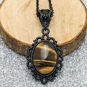 Oval Tiger's Eye Vintage Victorian Style Black Pendant Necklace