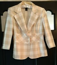 Focus >2000 100% Silk Women's Champagne Beige & Ivory Cream Check Blazer Size 12