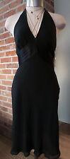 VTG Halter Dress Black by Express Silk Sz 4