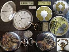 Antique 1913 Unusual ZENITH Silver Pocket Watch Niello Gold Plated Swiss #167610