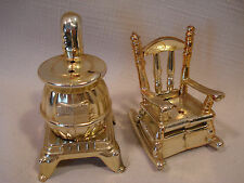 Vintage....Metal...Rocking Chair & Pot. Belly Stove...Salt & Pepper Shakers..U.S