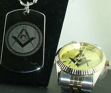 FATHERS DAY DEAL MASONIC MASON G TWO TONE GOLD FACE WATCH 2 side engrave DOG TAG