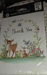 American Greetings Cards Vintage THANK YOU (8) Cards/Envel Woodland Animals NEW