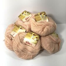 Vtg Katia Angoretta Knitting Yarn Faux Angora Acrylic Nylon Peach 7108 Bag of 12