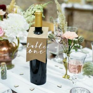 Wedding Party Bottle Table Numbers | 1-10 Centrepiece Decorations Rustic Brown