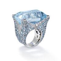 Huge 925 Silver Women Jewelry Aquamarine Gemstone Wedding Bridal Ring Size6-10