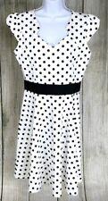 Yellow Star Women's White Dress Retro Vintage Plus Size 1X Polka Dots EUC A5715