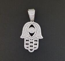 925 Sterling Silver Men Women White Crystals Luck Evil Eye Hamsa Hand Charm Pend