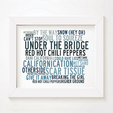 `Crystalline` RED HOT CHILI PEPPERS Art Print Typography Lyrics Signed Poster