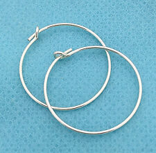10x 20mm solid STERLING SILVER Round beading hoop earring ear wire earwire E15s