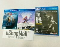 PS4 Last of Us Game Disc, God of War and Horizon Zero Dawn Complete Edition Card