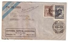 ARGENTINA 1950 AIRMAIL COVER TO MERCEDES URUGUAY. CAUSA - PLUNA AIR SERVICE