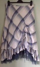 Per Una Blue Tartan Steampunk Boho Hitched Mid Calf Skirt Size 16 R