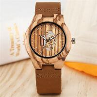 Creative Ebony Natural Wooden Leather Band Men Women Analog Quartz Wrist Watches