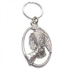 Silver Hawk Bird On Glove English Pewter Keyring Handmade In England Keys New