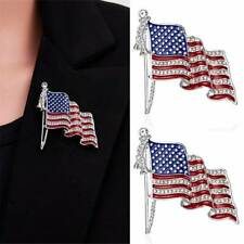 Lapel Pins Crystal Brooch Badge Jewelry Hot American Flag Usa National Flag Star