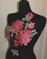 NEW Flower Lace Embroidered Clothes Sewing Applique Patch pink