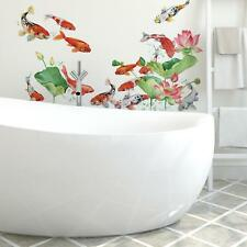 Koi Pond Giant Wall Decals Tropical Fish and Flowers Stickers Home Wall Decor