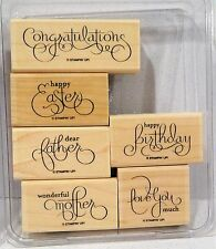 Stampin Up WELL SCRIPTED wood mount stamps NEW Mother Father Birthday Easter