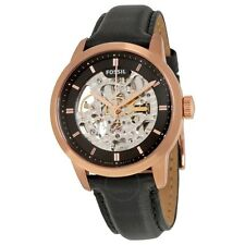 Fossil ME3084 Townsman Mechanical Automatic Skeleton Black Lther Rose Gold Watch