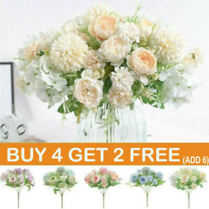 Silk Peony Artificial Fake Flowers Bunch Bouquet Home Wedding Party Garden-Decor